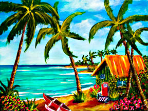 Hawaii Beach  ar printst, Hawaii Tropical Beach Art prints for sale by Hawaii Beach artist Donald K. Hall #357