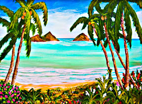 Hawaii Beach  ar printst, Hawaiian Tropical Beach Lanikai Oahu,  for sale by Hawaii Beach artist Donald K. Hall #358