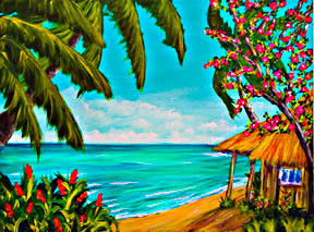 Hawaii Beach  art prints for sale, Hawaiian Tropical Beach Art prints, by Hawaii beach artist Donald K. Hall #360