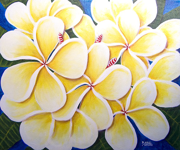 Plumeria  flower, hawaii tropical flowes  art prints, painting by hawaii artist Donald K. Hall #362