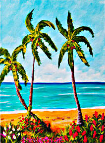 Hawaii Beach  art, Hawaiian Tropical Beach Art painting, Oahu, beach art prints for sale by hawaii beach artist Donald K. Hall #363