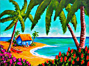 "Hawaii Beach  art prints for sale,  ""A good place for lunch, "",  by Hawaii Beach artist Donald K. Hall #364"
