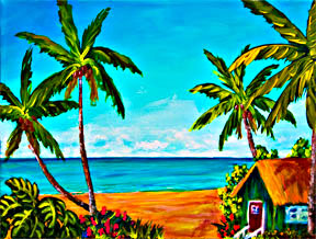 "Hawaii Beach  art, Hawaiian Beach painting,  tropical beach picture,""A day in Paradise Hawaii, Home Sweat Home, "" Acrylic beach painting by Hawaii beach artist Donald K. Hall #366"