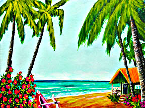 "Hawaii Beach  art prints for sale,  ""Ko'olau Mountains, Oahu,  Hawaii"",  by hawaii Beach artist Donald K. Hall #361"