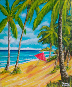 "Hawaii Beach  art prints for sale, Tropical Beaches picture, ""A day in Paradise hawaii, Lanikai Beach, Moku Islands Oahu Hawaii,  Hawaii Beach artist Donald K. Hall #368"