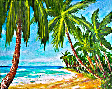 Hawaii Beach  art, Haleiwa Hawaiian Tropical Beach Oahu, original art and art prints for sale by Hawaii Beach artist Donald K. Hall #369