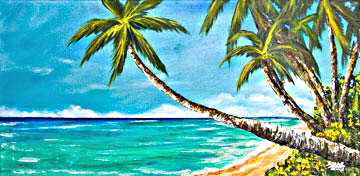 Hawaii Beach  art, Sunset Beach Art Painting, Hawaiian Tropical Beach,  original art and art prints for sale by Hawaii beach artist Donald K. Hall #370