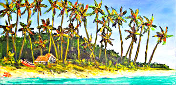 "Hawaii Beach  art, Hawaiian Tropical Beach Art,""A Simple Life"",  original art and art prints for sale by Hawaii Beach artist Donald K. Hall #374"