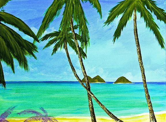 Hawaii Beach  art, Lanikai Hawaiian Tropical Beach Oahu, original art and beach art prints for sale by Hawaii Beach artist Donald K. Hall #375