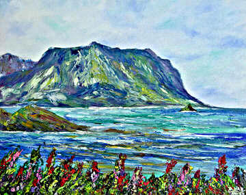 Hawaii Beach  art, Mokolii Island and Koolau Mountains Hawaii Tropical Beach art. original painting and prints by Hawaii beach artist Donald K. Hall #376