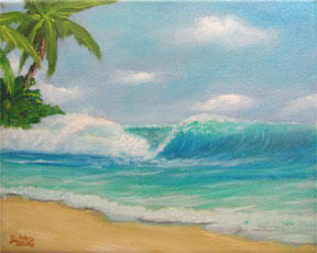 Hawaii Beach  art, Hawaiian Inviting Wave Original painting and prints for sale by Hawaii artist Donald K. Hall #378