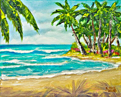 Hawaii Beach  art, Sunny day Hawaiian Tropical Beach Oahu, original art and art prints for sale by Hawaii Beaches artist Donald K. Hall #379