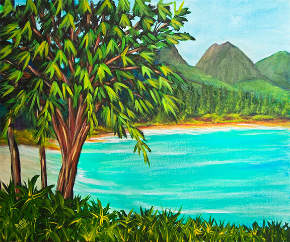Hawaii Beach  art, Hawaii Waimanalo Beach art Painting prints, Acrylic beach painting by Hawaii beach artist Donald K. Hall #385