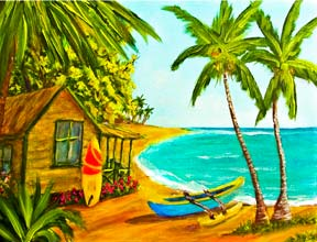 "Hawaii Beach  art, Hawaii Tropical Beach art prints, ""Waiting for the Waves"", Hawaii"", original Acrylic beach painting by Hawaii beach artist Donald K. Hall #387"