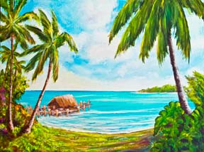 "Hawaii Beach  art, Hawaii Tropical Beach art Painting prints, ""A day in Paradise hawaii"", Acrylic painting by Hawaii beach artist Donald K. Hall #388"