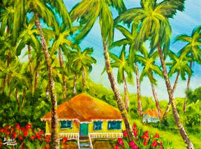 hawaiian Plantation Home art painting by hawaiiana rtist Donald K Hall #390