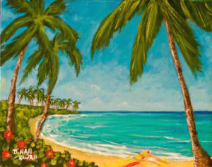 Hawaii Beach  art, Hawaii Tropical Beach Oahu, original art and art prints for sale by Hawaii Beach artist Donald K. Hall #395