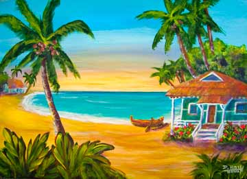 "Hawaii Beach  art, Hawaii Tropical Beach art Painting prints, ""A day in Paradise hawaii"", Acrylic painting by Hawaii Beach artist Donald K. Hall #400"