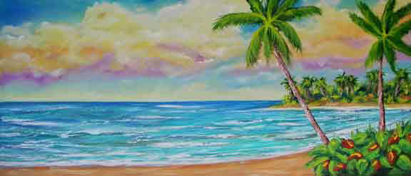 Hawaii Beach  art, Hawaiian Tropical Beach Original Oil Art Painting and Hawaii Beach Art prints for sale by Hawaii Beach Artist Donald K. Hall  #408