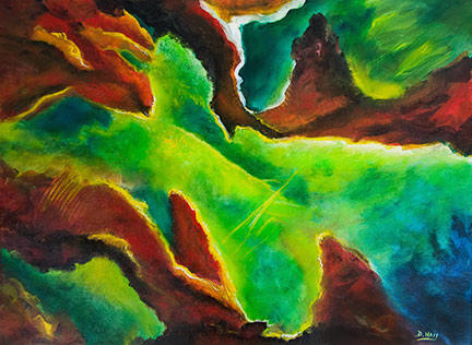 "Abstract Original Oil  Painting, ""Beginnings #1"", by hawaii Absract artsit Donald K. Hall #410"
