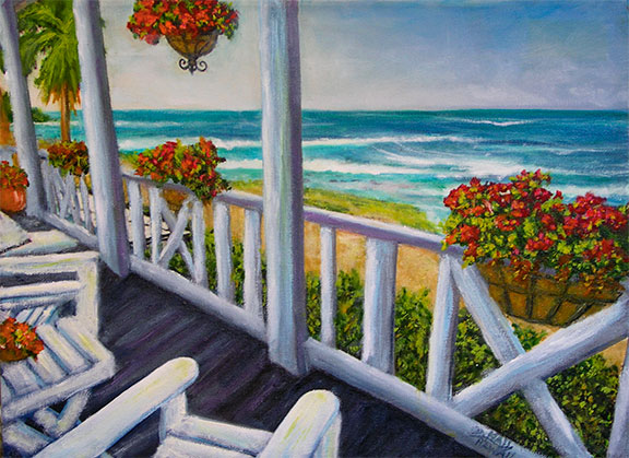 "Original Hawaiian Beach  art, and  Hawaiian art prints, ""Hawaii Beach and Veranda Waikiki"", Hawaiiana, by Hawaii artist Donald K. Hall #419"