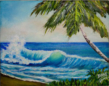 "Hawaiian Beach  ar printst ""Hawaiian Beach Wave"", by Hawaii Beach Artist Donald K Hall #420"