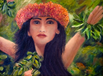 "Iolani, ""The Dance""  Hawaiian Art Oil painting by Hawaii Artist Donald K. Hall #422"