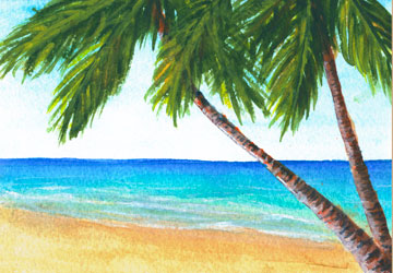 "Hawaii Beach  Original Beach Art,"" Hawaiian Tropical Beach Art painting, beach art prints for sale by Hawaii beach artist Donald K. Hall #425"