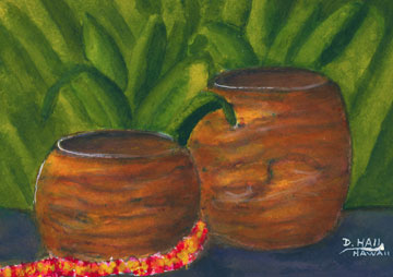 "Hawaiian Water Color painting and Art prints, ""Koa wooden Bowl"",  by Hawaii artsit Donald K. Hall 426"
