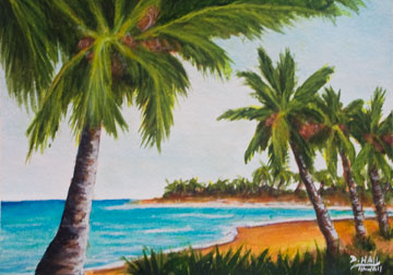 Hawaii Beach  art prints for sale, Hawaii Tropiocal Bay, by Hawaii beach artist Donald K. Hall #429