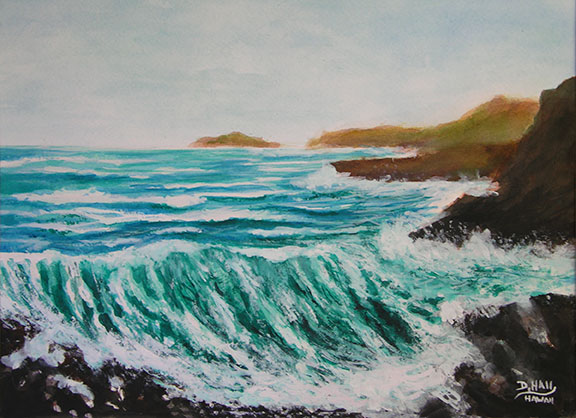 "Original Water Color Painting and art prints,""Hawaiian Big Surf and Wave"", by Hawaii Beach Artist Donald K Hall #434"