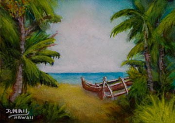 Hawaii Beach  art, Hawaii Art, Tropical Hawaiian Beach  by Hawaii Artist Donald K. Hall #438