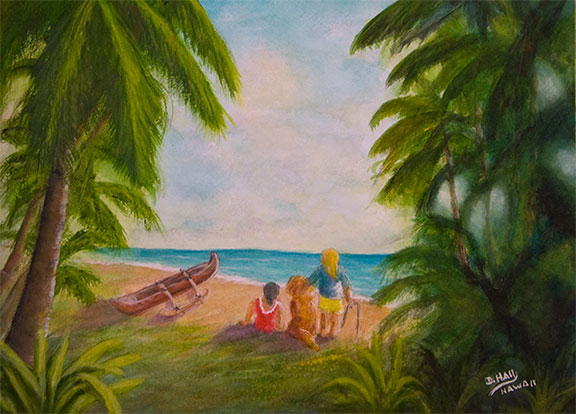 "Hawaii Beach  art, Original Water Color painting ,""Sunny Day Hawaii Beach"", by Hawaii beach Artist Donald K Hall #440"