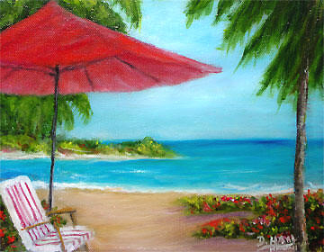 "Hawaii Beach  art, ,""Hawaiian Beach"", by Hawaii Beach Artist Donald K Hall #441"