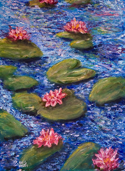 """ Water Lily Flowers"",  12""x16"" Oil on Canvas,inspiered by the French Artist Monet #444"