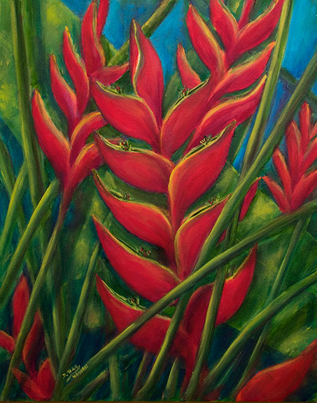 """ Heliconia Flowers"", 16x20 Oil on Canvas, by Hawaii flower artst Donald K Hall#445"
