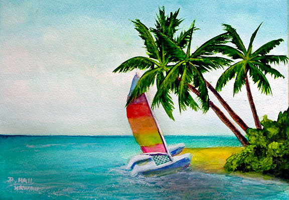 "Hawaiian Beach Water Color Painting and  art prints, ""Hawaiian Beach,"" by Hawaii artist Donald K. Hall #453"