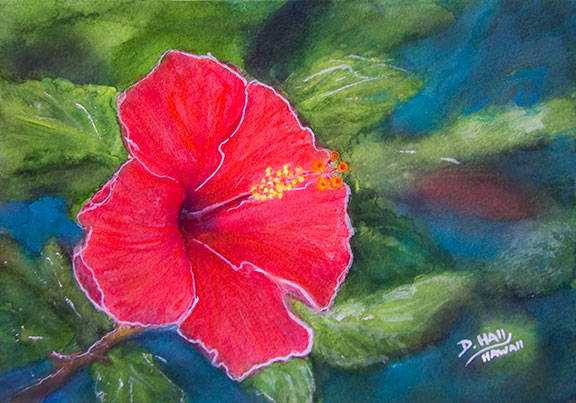 "Original Hawaii Art Water Color, ""Red Hibiscus flower"", art painting , Hawaiian flower  art prints, by Hawaii artist Donald K. Hall #463"