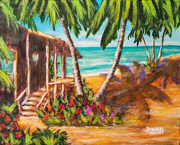 "Original  8""x10"" Acrilic Painting and art prints,""Hawaii Beach Front"", by Hawaii Beach Artist Donald K Hall #466"