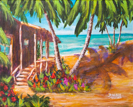 "Original  8""x10"" Acrilic Painting,""Hawaii Beach Front"", by Hawaii Beach Artist Donald K Hall #466"