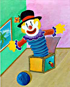 Clown #47 Jack in the box with ball by Hawaii artist Donald K. Hall