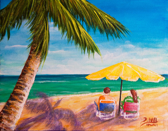 "Original Hawaii Beach Art, ""Hawaii Beach Yellow Umbrella "", original Acrylic painting by Hawaii Artist Donald k Hall #470"