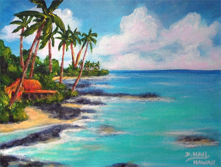 "Hawaii Beach Art, ""Hawaii North Shore Oahu "", original Acrylic painting by Hawaii Artist Donald k Hall #472"