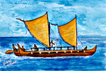 Hokulea  Ocean Going Outrigger Canoe   Art Print Painting No:49