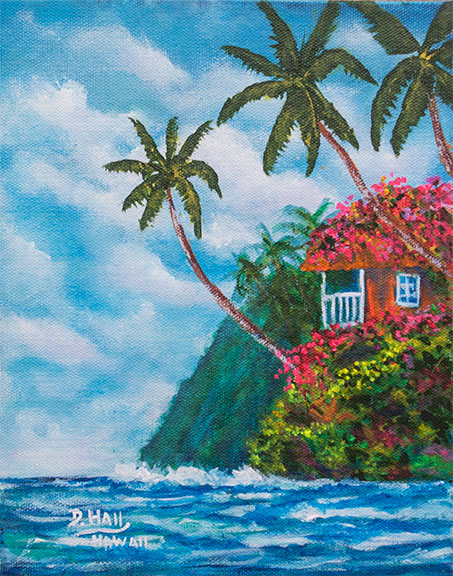 "Original  8""x10"" Acrilic Painting,""A Beautiful Day in Hawaat"", by Hawaii Beach Artist Donald K Hall #493"