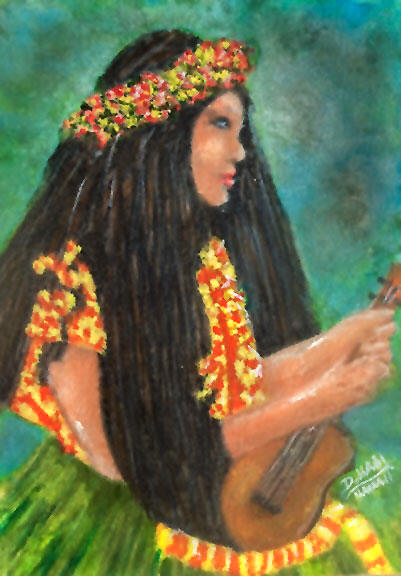 Hawaiian Ukulele Player,   Original Water Color Art Painting and prints for sale No:499