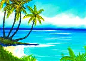 "Hawaii Beach  art, Hawaiian Beach Art Prints, Seascape, ""Calm Bay"", painting by Hawaii beach artist Donald K. Hall #53"