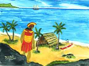 Hawaii Beach  art, Hawaiian Beach art prints, Hawaiiana Alii overlooking Waikiki Beach Painting by Hawaii artist Donald K. Hall#57