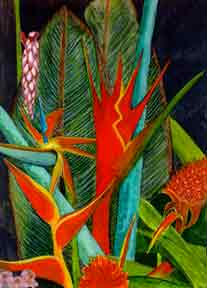 Tropical Flowers Assortment , Heliconia, Bird of Paradise, Shell Ginger, Torch Ginger, Ti Leaf , Lobster Claw.r, hawaii tropical flowes  art prints, painting by hawaii artist Donald K. Hall #60