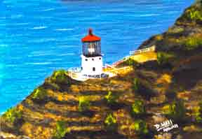 Hawaii Beach  art, Hawaiian Art Prints, landmark Makapuu Lighthouse painting by Hawaii Artist Donald  K. Hall #78